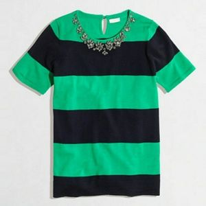 J. Crew Embellished Blouse Top Stripped Size M